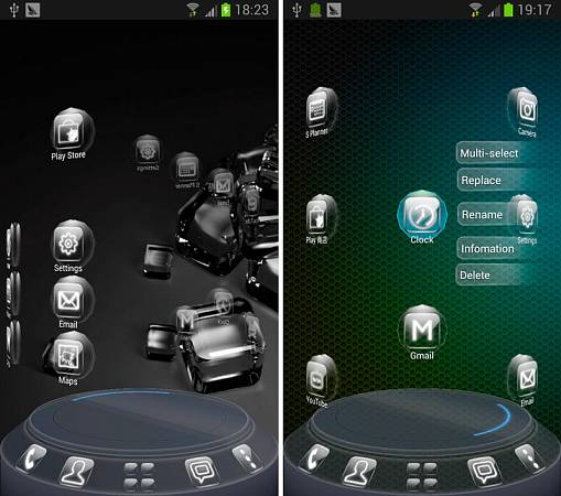 Скриншоты из Glass Next Launcher 3D Theme