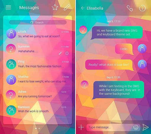 Скриншоты из GO SMS PRO COLORFUL THEME